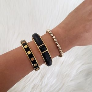 Vince Camuto Black & Gold Pyramid Bangle!